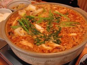 アンコウの肝と味噌ベースの鍋